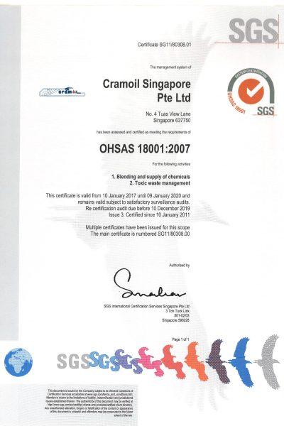 Cramoil Singapore ISO9000 ISO14000 ISO18000-3-1